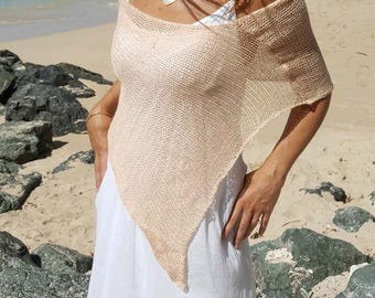 Apricot knit bohemian poncho shawl, summer shawl, summer knit poncho, summer knit cover up, available in 6 colours.