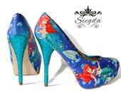 Siegda EXPRESS- The Little Mermaid Under the Sea - Glitter Heels- Size 8.5 - Ready To Ship- Wedding- Geek- Bride- Custom Shoe- Christmas