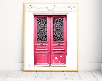 Paris Door Print, Red Paris Door Photo, Paris Photography, Door Wall Print, Paris Wall Decor, Red Wall Decor, Parisian Door, Unique Gift