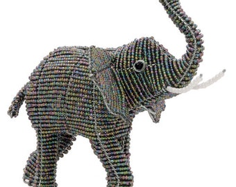 African Fair Trade Beaded Elephant Figurine - Wireworx wire and glass beaded animal
