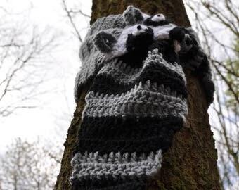 Crochet Animal Scarf - Raccoon Scarf -