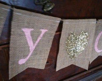 Baby Shower Sign, Pink Gold Baby Shower, Baby Shower Girl, Baby Shower Banner, Name Banner, Baby Name Banner, Custom Banner, Burlap Banner