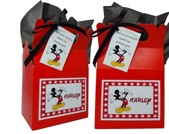 Personalised Party Bag/Box Disney Mickey Mouse Themed Birthday Party Sweets Favours Lunch Gift Box