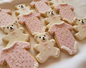 Teddy bear and Onesie cookies