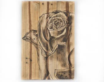 Rose painting Gifts for mother Gift for gardener Gift for grandmother Gifts for women Summer decor Floral art Pallet art Rose wall art