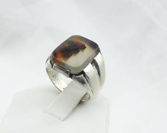 Lovely Patterned Montana Agate Vintage Sterling Silver Ring  #MONTA-MS