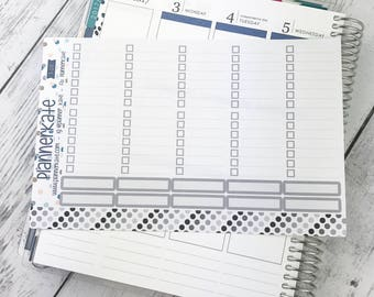 S-201 ||  FULL BOX Checklist Sticker with lines for Weekly Spread of Erin Condren Vertical (20 Removable Matte Stickers) - Gray