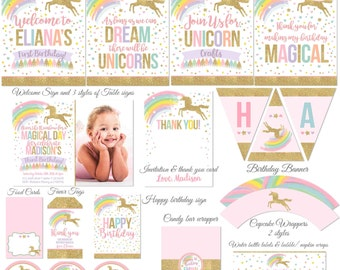 Magical Unicorn Party Package & Magical Unicorn Birthday Invitation Pink Gold Unicorn Party Decorations Unicorn Printable Party Package