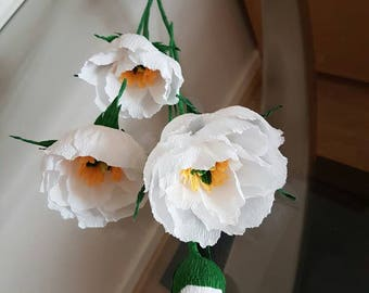 set of 10 Wedding paper flowers, ivory flowers, pink peonies,large paper flowers,paper flower bouquet, handmade paper flowers, paper peonies