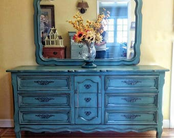 SOLD SOLD!! Vintage dresser with mirror, drexel dresser with mirror, shabby chic dresser, teal dresser, teal buffet, French provincial
