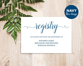 Gift Registery Card Template, Printable Wedding Registry Card, Editable Text, Modern Calligraphy, Navy Blue, VW03