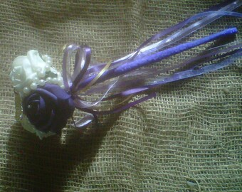 flower girl wand purple .  white .ribbons & butterfly