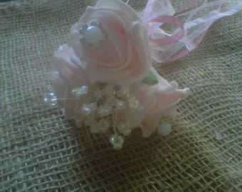flower girl wand .vintage light pink roses  with pearls & crystals .ribbon
