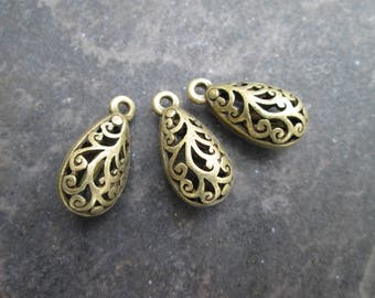 "Teardrop Filigree Pendant Charms Antique Bronze Scroll Design Pendant Charms Package of 3 charms 1"" long"
