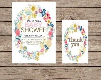 Wildflower digital baby shower invitation and coordinating thank you card