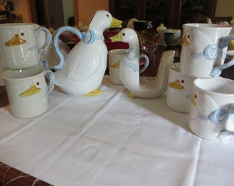 Fitz and Floyd Geese Set, Cups, Nakin Holder, Pitcher, 1983