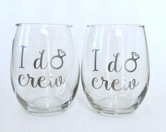 i do crew - Set of 2 - Will you Be My Bridesmaid? Bridesmaid Proposal - 15oz Stemless Wine Glass with Title/Name/Monogram