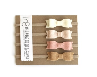 4 mini bows - One Size Fits All Nylon - Blush Neutrals