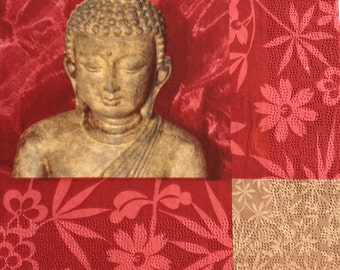 Set of 3(three)beautiful napkins Buddha Gold Red perfect for decoupage,decoupage under glass,scrapbooking and other art and crafts