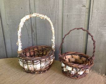 Birch flower girl basket/ flower girl basket/ wedding basket/ rustic basket/ woodland basket/ wedding accessory/ birch basket/ birch decor