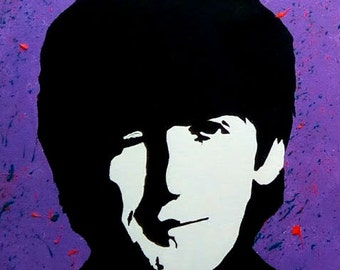 George Harrison Beatles Hard Days Night Pop Art Custom Acrylic Painting - Beatles Art - Beatles Wall Art - Beatles Decor - Beatles Paintings