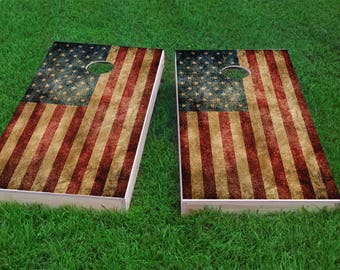 Worn American Flag Themed 2x4 Custom Cornhole Board Set with bags | Custom Corn Hole | Bag Toss | Corn Toss | Bean Bag Toss