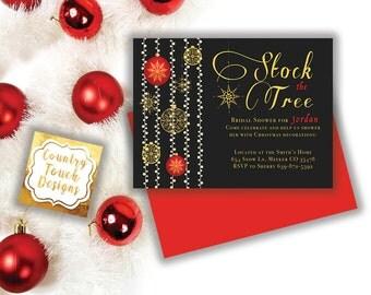 Stock the Tree Bridal Shower Invitation Ornaments Lights Christmas Holiday Digital Download Professional Printing