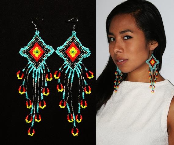 Long Dangling Huichol Earrings,Native American Earrings with Dangles, Eye of God Earrings, Ojo de Dios Earrings, Seed Bead Earrings