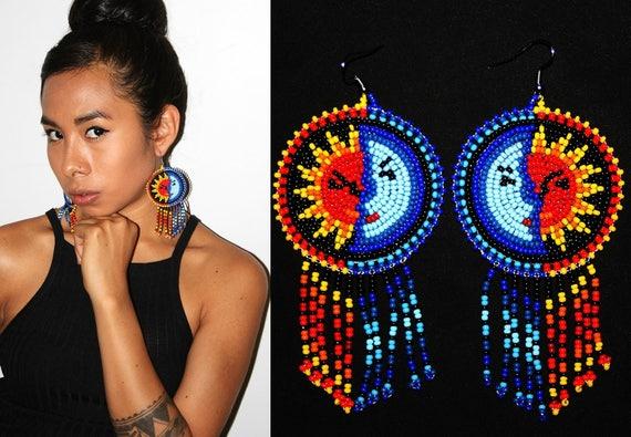 Native American Earrings, Sun and Moon Earrings, Huichol Beaded Earrings, Eclipse Earrings, Astrology Jewelry, Beaded Medallion Earrings