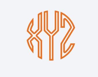Round Text Outline Monogram