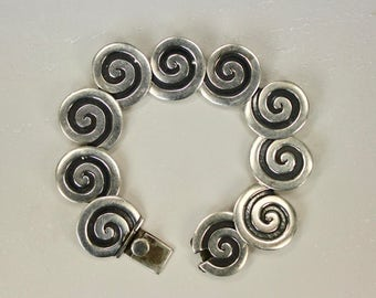 "Vintage Maricela 925 Sterling Silver Tasco Mexico Circle Link Bracelet Isidro Garcia Pina 7"" Closed Length c1940s"