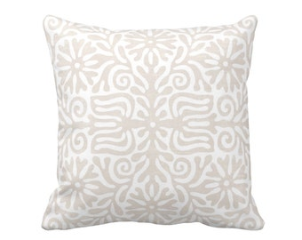 "Folk Print Throw Pillow, Linen & White 16 or 20"" Square INDOOR or OUTDOOR Embroidery Pattern, Beige/Taupe/Tan Pillows"