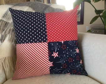 Independence Day Pillow, Flag Pillow Cover, Patriotic Pillow, Fourth of July, Red White and Blue Pillow 18x, Stars & Stripes, USA Flag Patch