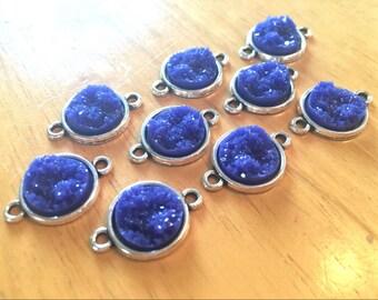 Dark Blue Beads with 2 Holes, Faux Druzy Connector Beads, blue druzy, druzy bracelet, druzy bangle, navy bracelet, navy blue jewelry, blue