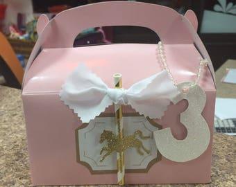 SUMMER SALE Glitter Carousel Treat Boxes (Set of 12)