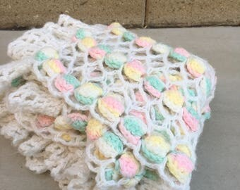 Vintage Handmade Crochet Pastel Popcorn Baby Blanket Room Decour