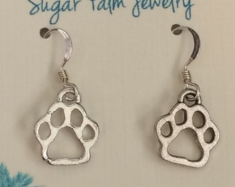 Silver Pawprint Earrings