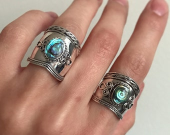 Sterling silver Bali design statement rings with Abalone