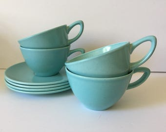 Vintage Monterey California Pottery Cups / Saucers..Mid Century Modern Turquoise Blue Coffee or Tea Cups & Saucers..Modern Retro Design...