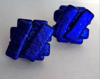 Blue-Gold Dichroic Glass Stud Earrings - Silver Y/B