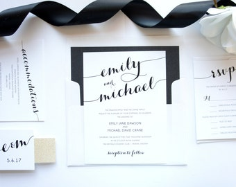 Modern Script Wedding Invitation, Modern Calligraphy Wedding Invitation, Black and Gold Wedding Invitation - Deposit