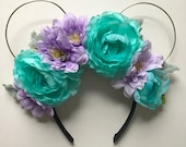 Kiss the Girl Ariel Inspired Wire Ears, Mermaid Ears, Ariel Ears, Floral Ears, Wire Floral Ear Headband, Mickey Ears, Flower Crown