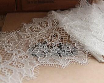 3.3 yards Ivory Lace Trim Crochet Fabric Eyelash Lace Scalloped Edges Fabric Tulle