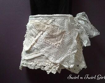 GIRLS SHABBY SKIRT, tattered wrap skirt, flower girl, crochet doily skirt, 5 6 7 8 year old, Ivory cream beige, wedding skirt, boho chic