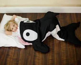 Unisex Orca Whale Blanket (Ages 3 - 12) Sleeping Bag with Pocket & Fleece Lining - Great for Easter, Ocean Birthday Nautical Sack Nap Mat