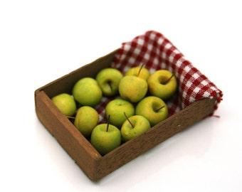 OOAK Crate of Green Applies ~ Miniature Food ~ Dolls House Miniatures