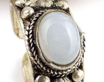 Tibetan jewelry ring Moonstone moonstone dorje vajra zen meditation chakra coronal Buddhism ref 103D