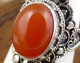 CARNELIAN natural stone, Carnelian, Tiger eye jewels JA71.2 jewelry silver ring