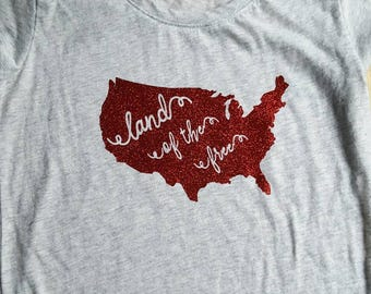 Glitter Land of the Free Fourth of July Memorial Day Tshirt