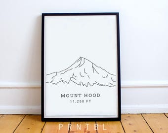 Mount Hood Oregon PNW Modern Hiking Design Printable Photo Frame Pacific Northwest Portland Lover Wall Art Minimalist Artwork Cascades